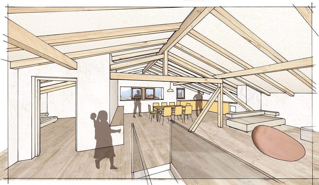 Innenperspektive Dachgeschoss nach Sanierung