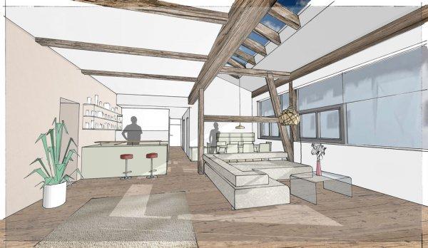 Wohnküche im ausgebauten Tennen